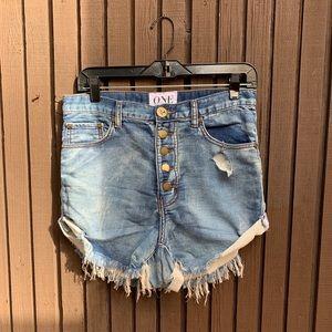 One teaspoon jean shorts raw hem size 25